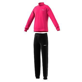 Adidas lineal esencial chicas completo Zip poliéster chándal conjunto rosa/negro