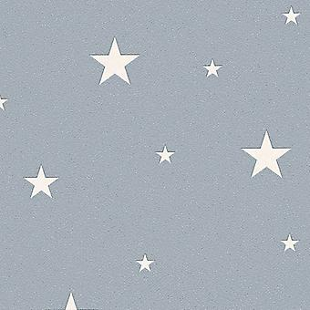 Glow In The Dark Stars Planets Cosmic Wallpaper Textured AS Creation Grey/White