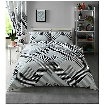 Geo Stripes Triangle Shapes Duvet Quilt Cover Reversible Modern Bedding Set