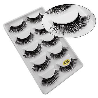 5-pair false eyelashes-3D faux mink-G701