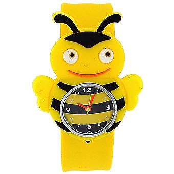 Kids 3D Yellow Bumble Bee Bendable Slap Watch With Yellow & Black Stripe Dial
