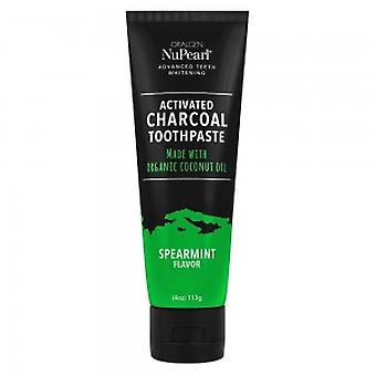 NuPearl Activated Charcoal Toothpaste - Spearmint - With Organic Coconut Oil