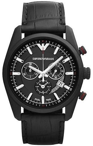 Emporio Armani Ar6035 Sportivo Black Dial Leather Strap Men's Watch