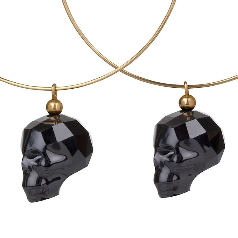 14kt Gold Filled Hoop Earrings with�Black Swarovski Skull