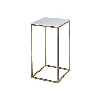 Gillmore White Glass And Gold Metal Contemporary Square Lamp Table
