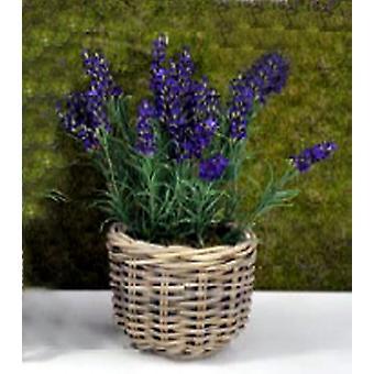 Artificial Silk Lavender in Large Rattan Planter