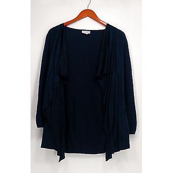 Joan Rivers clássicos coleção camisola faux Suede frente pipoca azul A310489