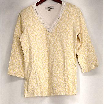Liz Claiborne York Floral Printed Embellished Neck Yellow Top A214380