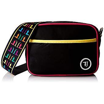 Trussardi Jeans T-Cube Vlv Fighter Nylon Women's Strap Bag (Black/Multicolor) 20x15x6 cm (W x H x L)