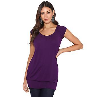 KRISP KRISP Damen Low Cut Plain Hüfte lange Linie Top T Shirt Tunika Sommerurlaub 7604