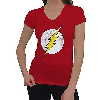 Flash Symbol Distressed Kobiety's V-Neck T-Shirt