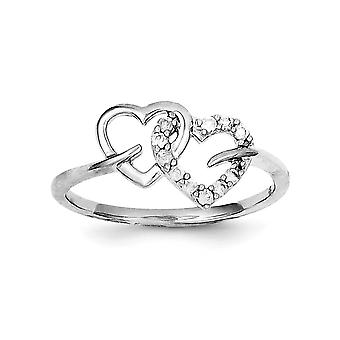 925スターリングシルバーポリッシュロジウムメッキダイヤモンドダブルラブハートリングジュエリーギフト女性のための - リングサイズ:6〜8