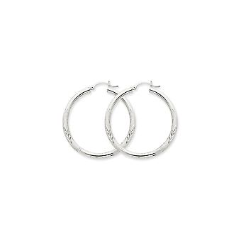 10k White Gold Hollow Hinged post Polished and satin Satin and Sparkle Cut 3mm Round Hoop Earrings Jewelry Gifts for Wom