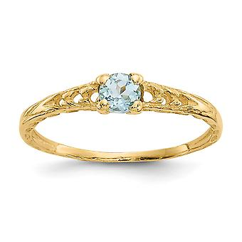 14k Yellow Gold Polished 3mm Aquamarine for boys or girls Ring Size 3