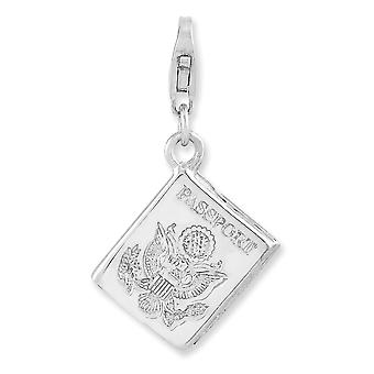 925 Sterling Silver Fancy Lobster Closure Rhodium plated 3 d Passport With Lobster Clasp Charm Pendant Necklace Jewelry