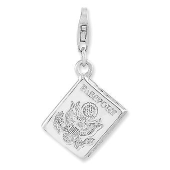 925 plata esterlina colgante de langosta de lujo rodiado 3 d pasaporte con cierre de langosta encanto colgante collar joyería