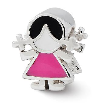 925 Sterling Silber Emaille Reflecitons rosa Kleid Mädchen Perle Anhänger Anhänger Halskette Schmuck Geschenke für Frauen
