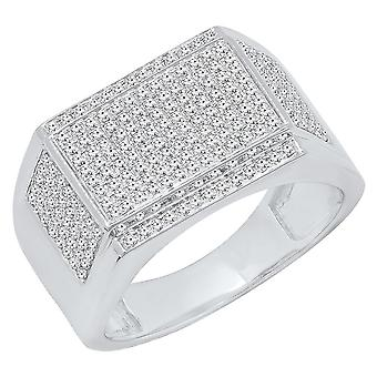 Dazzlingrock Collection 0.80 Carat (ctw) 10K Round White Diamond Men's Flashy Hip Hop Pinky Ring, White Gold