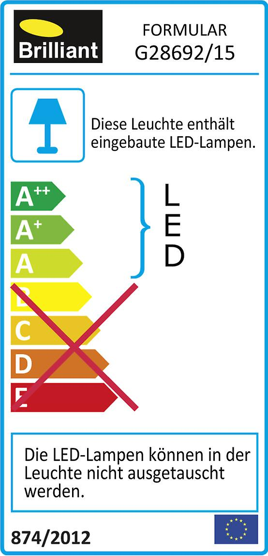 BRILLIANT Lampe FORMULAR LED Wand- und Deckenleuchte 2flg chrom IP-Schutzart: 44 - spritzwassergeschützt I Badezimmerleuchte