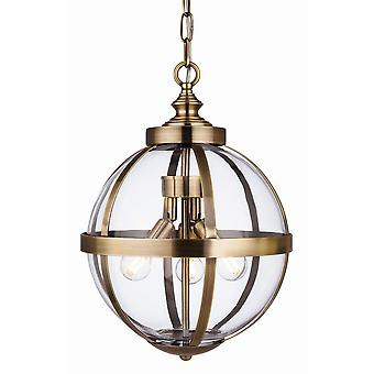 Firstlight Monroe 3 ljus bur hängande ljus antik mässing med klarglas 3708AB