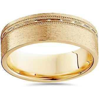 Mens 6mm piatto spazzolato Offset Wedding Band 14k oro giallo