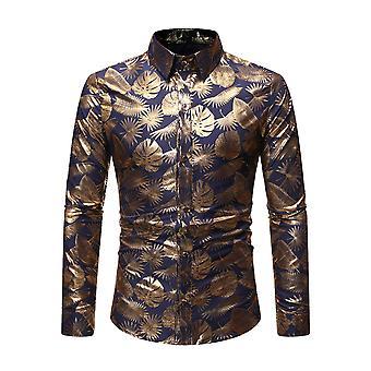 Allthemen Men's Shirt Shiny Gold Printed Long Sleeve Shirt