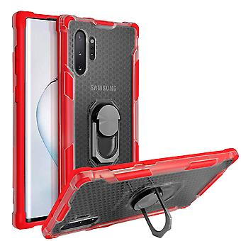 Bi-Material-Gehäuse mit Metall drehende Ringhalter Samsung Galaxy Note 10 Plus rot