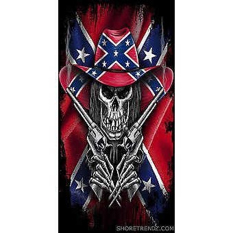 Bandera rebelde Beach Toalla Esqueleto Cowboy con armas Confederadas Dixie del Sur 30&X60