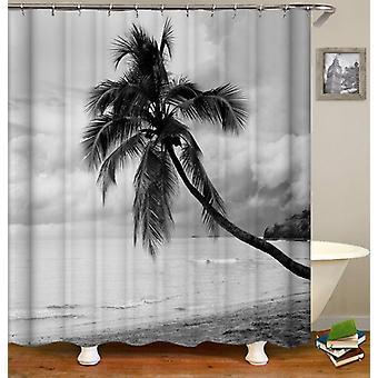Tenda doccia albero di cocco bianco e nero
