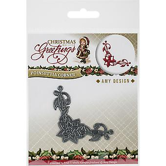 Find It Trading Amy Design Die-Poinsettia Corner, Christmas Greetings