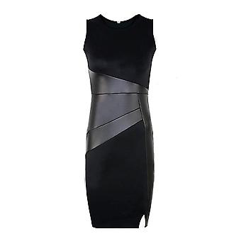 Vincenza ladies black bodycon sleeveless cocktail mini dress leather look panel