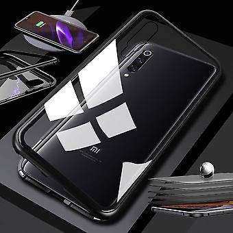 Für Xiaomi Mi 9 Lite Magnet / Metall / Glas Case Bumper Transparent / Schwarz Tasche Hülle Neu