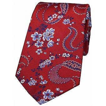 David Van Hagen Floral Pattern Silk Tie - Red