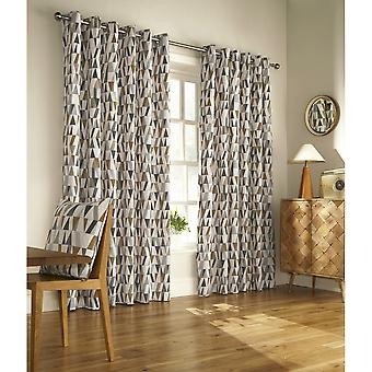 Furn Reno Ringtop Geometric Eyelet Curtains
