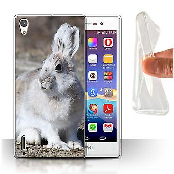 STUFF4 Gel TPU Case/Cover for Huawei Ascend P7 LTE/White Arctic Hare/Arctic Animals