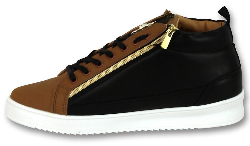 Sneaker Bee Camel Nero Oro Alto Marrone DucSAO
