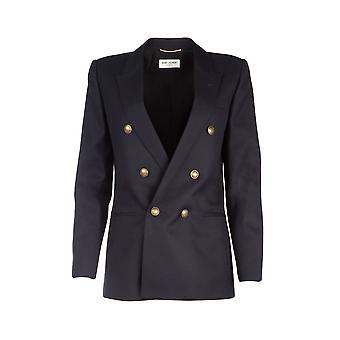 Saint Laurent 564154y221w4141 Women's Blue Wool Blazer