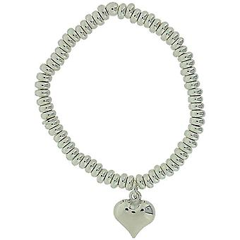 TOC Girls Sterling Silver Heart Charm Elasticated Sweetie Bracelet 5