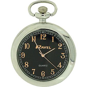 Ravel Mens Analogue Silver Tone Black Dial Pocket Watch 12