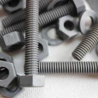 50 x kuusiokoloruuvit harmaa PVC, UPVC, muovimutterit ja pultit, M6 x 40mm