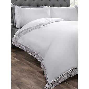 Funda de edredón Tia Trellis y juego de cama de funda de almohada - Super King, blanco