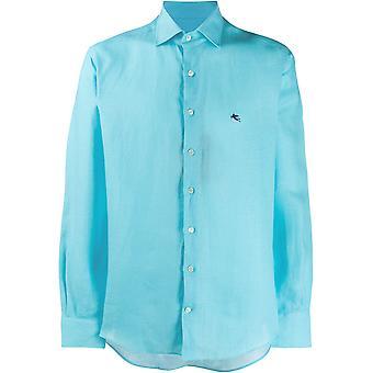 Etro 1k52661190250 Men's Light Blue Linen Shirt