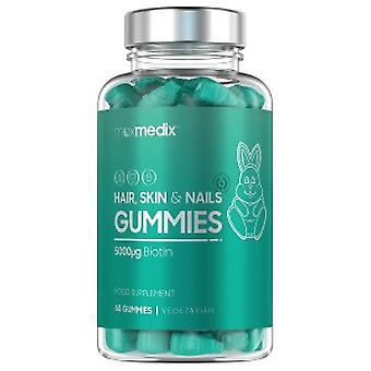 Gummy Bear Hair Vitamin with Biotin for Nails, Skin and Hair Growth - With Vitamins, Minerals & Biotin - Raspberry and Blueberry Flavour - 60 Per Pack