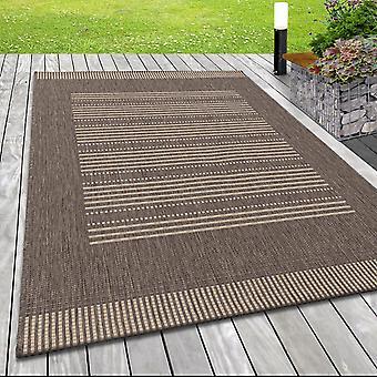 Moderno Flat Fabric Rug Interior Outdoor Lines Patrón Sisal Optic Beige Brown