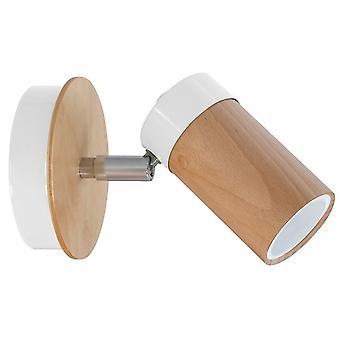 Baron Biały Kolor Lampa ścienna, Metal Wood, Drewno 15x15x18 cm
