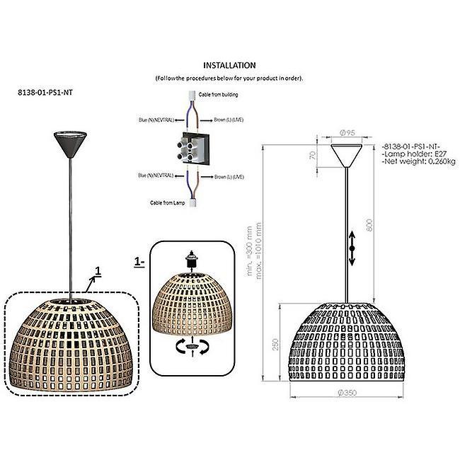 Lampada a Sospensione Barnes Colore Marrone, Nero in Metallo, Corda, L35xP35xA94 cm