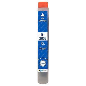 1 azúrová atramentová kazeta, ktorá nahradí atramentovú kazetu Epson T2632 (séria 26XL) kompatibilnú/non-OEM z atramentov Go