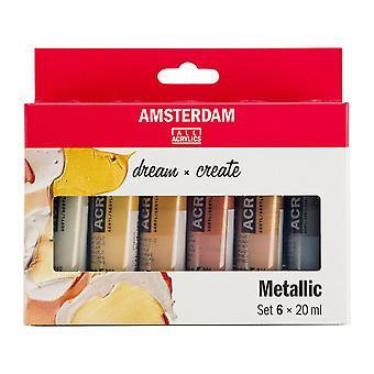 Amsterdam Acrylic Paint Metallic Colours Set 6 x 20ml