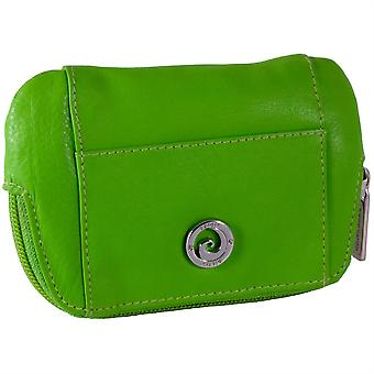 Pierre Cardin Genuine Leather Zip Top Coin Purse with Card Pockets - Green