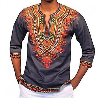 Dashiki Traditional African Clothing For Men Black Grey